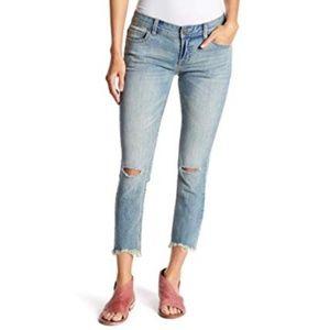 Free People Raw Hem Busted Knee Crop Jeans